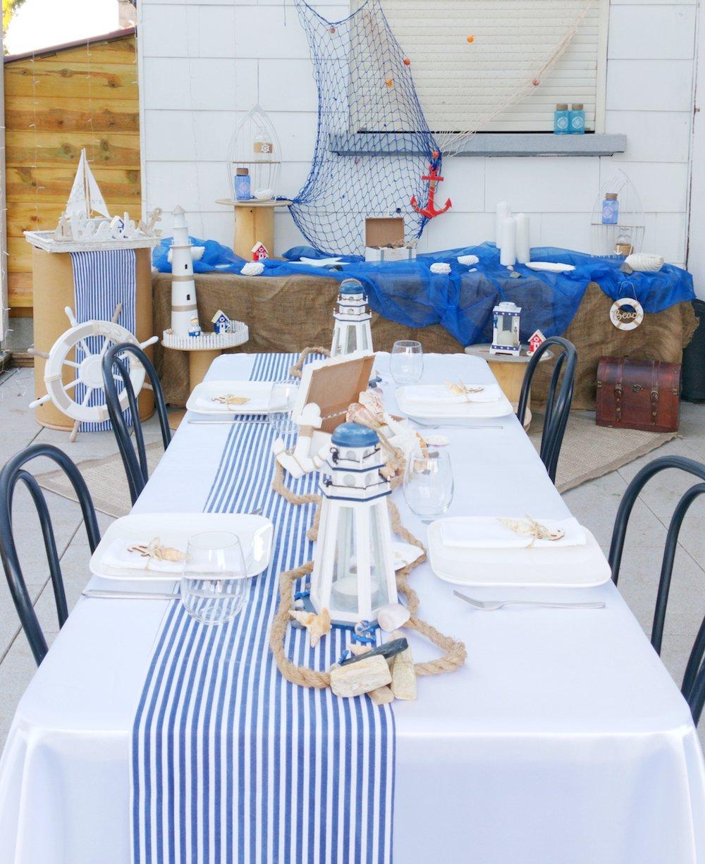 Décoration d'anniversaire sur le thème de la mer, des coquillages, imprimé marin