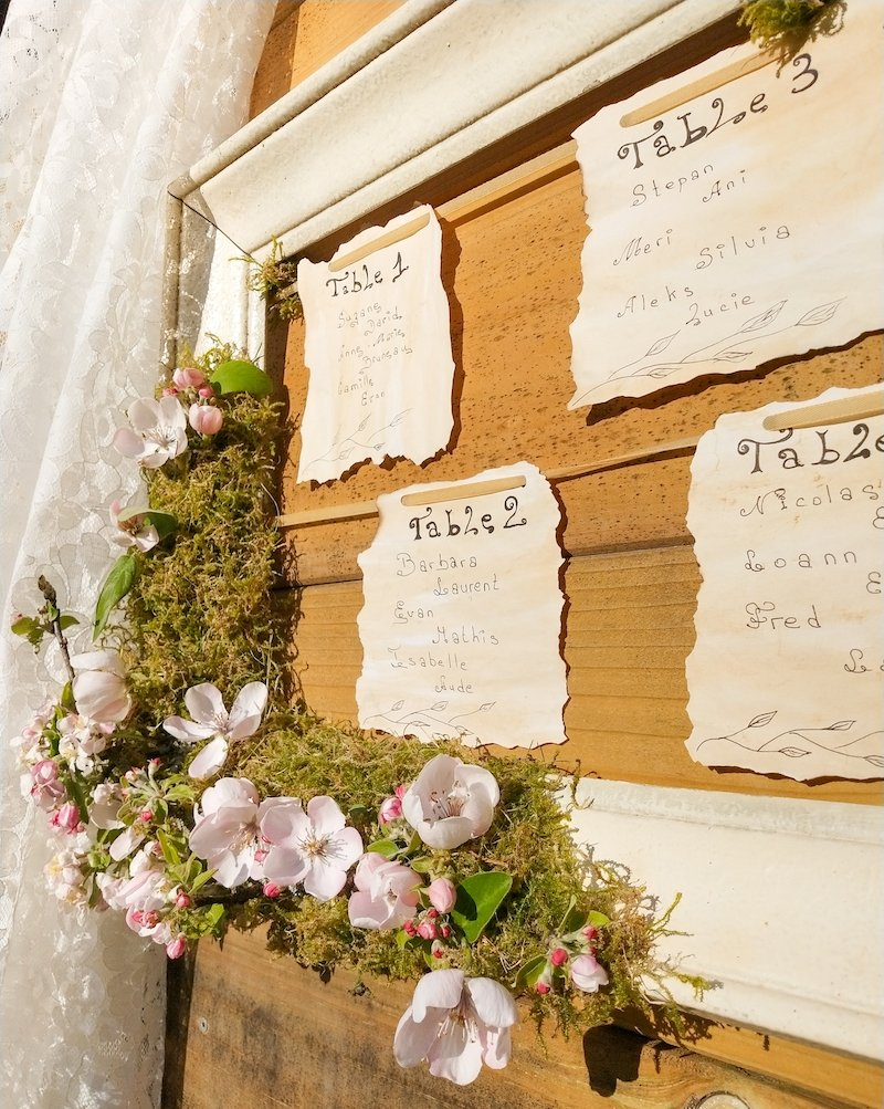 Plan de table scénographie et design floral romantique anniversaire fille
